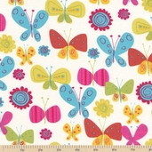 Fly Away Butterflies Cotton Fabric - Sunrise