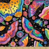 Flying Color II Coton Fabric - Black Metallic Butterfly Toss
