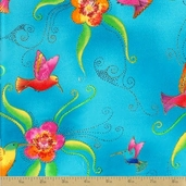Flying Color II Cotton Fabric - Aqua Metallic Hummingbirds