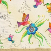 Flying Color II Cotton Fabric - Cream Metallic Hummingbirds