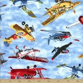 Flying High Allover Planes Cotton Fabric - Sky Blue