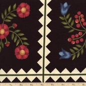 Folk Art Garden Tile Flannel Fabric - Black MASF18171-J