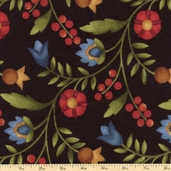 Folk Art Garden Toss Flannel Fabric - Black MASF18167-J