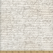 Folk Art Home Cursive Scripts Cotton Fabric - Taupe