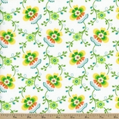 Folklore Molly Cotton Fabric - Cloud White