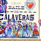 Folklorico Baile de Calaveras Cotton Fabric - Tea