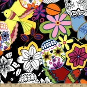 Folklorico Calaveras Alegres Cotton Fabric - Black