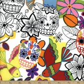 Folklorico Calaveras Alegres Cotton Fabric - White
