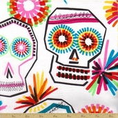 Folklorico Cotton Fabric - Calaveras Red