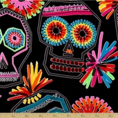 Folklorico Cotton Fabric - Pinata De Los Muertos Black
