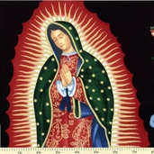 Folklorico Cotton Fabric - Virgin of Guadalupe Cotton - Black M6195-BRR