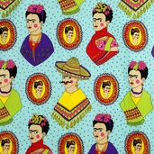 Folklorico Frida Fantastico Cotton Fabric - Turquoise