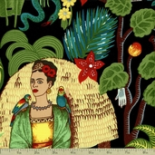 Folklorico Frida's Garden Cotton Fabric - Black