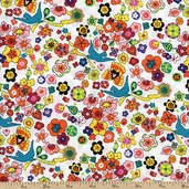 Folklorico Lupe Floral Cotton Fabric - White DE#7751B