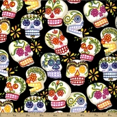 Folklorico Mini Calaveras Cotton Fabric - Black DE#6463-A