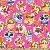 Folklorico Mini Calaveras Cotton Fabric - Pink DE#6463D