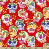Folklorico Mini Calaveras Cotton Fabric - Red DE#6463B