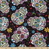 Folklorico Skulls Cotton Fabric - Black DT-2888-2C