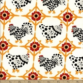 Fowl Play Chicken Tiles Cotton Fabric - Ivory