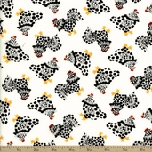 Fowl Play Chix Allover Cotton Fabric - Ivory