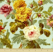 Francesca Cotton Fabric -  Floral - Aqua