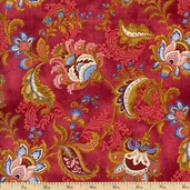 French Connection Floral Cotton Fabric - Red