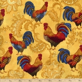 French Connection Rooster Cotton Fabric - Gold