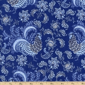 French Connection Rooster Floral Cotton Fabric - Blue