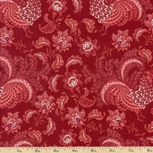 French Connection Rooster Floral Cotton Fabric - Red