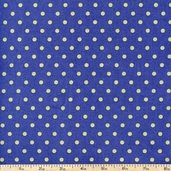 French Market Dots Cotton Fabric - Blue