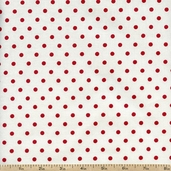 French Market Dots Cotton Fabric - Red