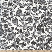 French Market Floral Cotton Fabric - Grey