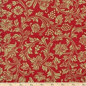 French Market Floral Cotton Fabric - Red