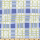 French Market Plaid Cotton Fabric - Blue