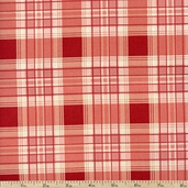 French Market Plaid Cotton Fabric - Red