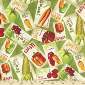 Fresh and Tasty Cotton Fabric - Packed Labels Green