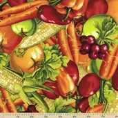 Fresh and Tasty Packed Veggies Cotton Fabric - Multi
