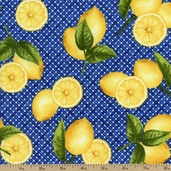 Fresh Lemons Grid Cotton Fabric - Navy AJA-12067-9 NAVY - Clearance