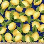 Fresh Lemons Texture Cotton Fabric - Navy AJA-12068-9 NAVY - Clearance