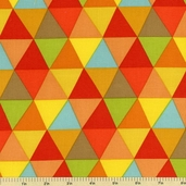 Frippery Triangles Cotton Fabric - Multi- Color 5815-Y