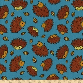 Frolicking Forest Hedgehog Cotton Fabric - Blue