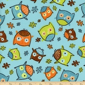 Frolicking Forest Owls Cotton Fabric - Blue