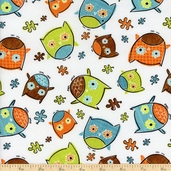 Frolicking Forest Owls Cotton Fabric - White