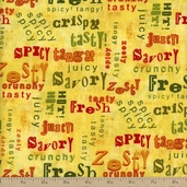From the Market Tossed Words Cotton Fabric - Yellow