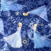 Frozen Elsa Character Toss Brushed Satin - Blue