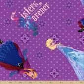 Frozen Sisters Forever Toss Cotton Fabric - Purple
