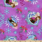 Frozen Sisters Merry Joyful Cotton Fabric - Purple