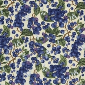 Fruit Basket Cotton Fabric - Ivory Blueberries
