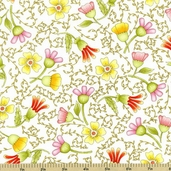 Fruitful Hands Cotton Fabric - White 9432-2