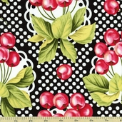 Fruits and Vegetables Cherry-O Cotton Fabric - Black CX5489-D